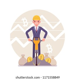 Bitcoin minig man business. Young businessman with jackhammer creating, discovering bitcoin currency, compiling transactions into blocks, obtaining money. Vector flat style cartoon illustration