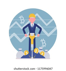 Bitcoin minig man business. Young businessman with jackhammer creating, discovering bitcoin currency, compiling transactions into blocks, obtaining money. Vector illustration, faceless characters