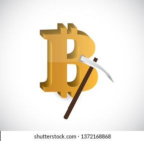 Bitcoin mining  Concept illustration isolated over a white background