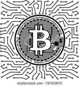 Bitcoin Mining Concept. Vector illustration