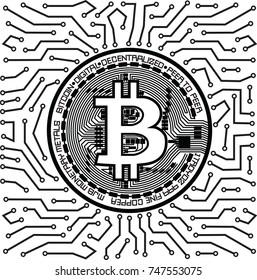 Bitcoin Mining Concept. Vector illustration