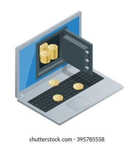 Bitcoin mining equipment. Golden coin with Bitcoin symbol in electronic environment.