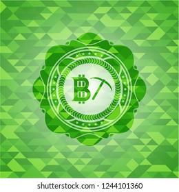 bitcoin mining icon inside realistic green emblem. Mosaic background