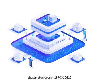 Bitcoin-Bergbau isometrisches Konzept. Menschen arbeiten digitale Geld-Mining-Farm Hardware, Blockchain-Technologie, kryptowährungs-Marktplatz, Kryptogeschäft. Vektorgrafik in Isoometrie-Design