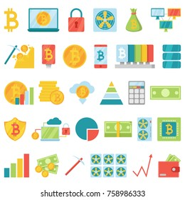 Bitcoin mining money icons vector virtual crypto currence blockchain finance internet business bit cryptocurrency coins traiding investment illustration exchange concept