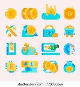 Bitcoin mining money icons vector finance internet business bit virtual crypto currence blockchain cryptocurrency coins traiding investment bitcoin illustration exchange concept
