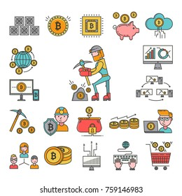 Bitcoin mining money icons virtual crypto currence blockchain vector finance business bit cryptocurrency coins. Traiding investment exchange concept