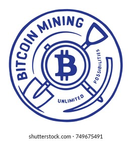 Bitcoin mining sticker. Hand drawn logo with shovel and pickax.