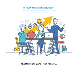 Bitcoin mining technology, extraction and receipt bitcoins, e-currency, growth crypto-currency market, online depository of electronic money, cloud-mining service. Illustration thin line design.