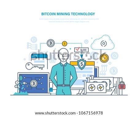 Bitcoin Mining Technology Extraction Receipt Bitcoins Stock Vector