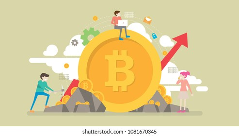 Bitcoin Mining Technology Tiny People Character Concept Vector Illustration, Suitable For Wallpaper, Banner, Background, Card, Book Illustration, Web Landing Page, and Other Related Creative