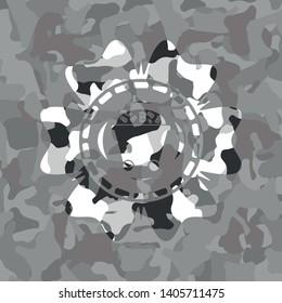 Bitcoin mining trolley icon inside grey camouflaged emblem
