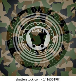 Bitcoin mining trolley icon inside camouflage emblem