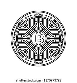 Bitcoin Monochrome Vector Icon