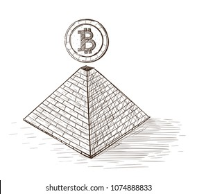 Bitcoin. Bitcoin on top of pyramid. Set of hand drawn icons isolated on white background.