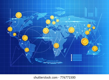Bitcoin On World Map Money Transfer Concept Crypto Currency Digital Payment System Vector Illustration