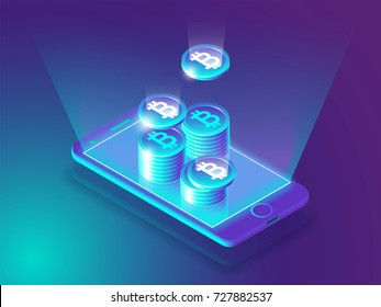 Bitcoin online currency payment and wallet concept. Smart phone screen with money. Vector illustration 3d design.