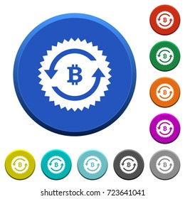 Bitcoin pay back guarantee sticker round color beveled buttons with smooth surfaces and flat white icons