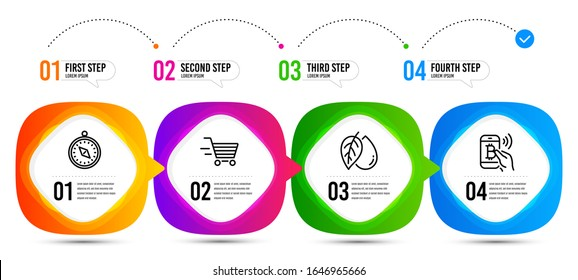 Bitcoin pay, Mineral oil and Travel compass line icons set. Timeline steps. Delivery shopping sign. Mobile payment, Organic tested, Trip destination. Online buying. Business set. Vector