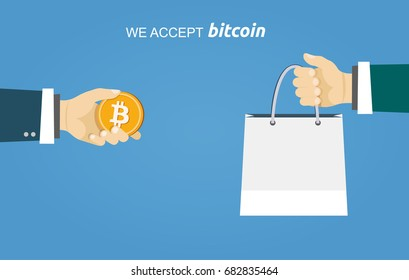 Bitcoin payment internet shopping flat illustration. Eps 10