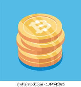 Bitcoin. Physical bit coin. Digital currency. Cryptocurrency. Golden coin with bitcoin symbol. Bitcoin with flat design style. stock vector illustration.