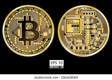 Bitcoin. Physical bit coin. Digital currency. Cryptocurrency. Double sided coin with bitcoin symbol isolated on white background. Vector illustration.