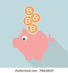 Bitcoin in piggy bank. Flat design. Vector illustration