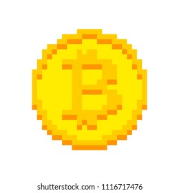 Bitcoin Pixel art isolated. crypto currency 8 bit. Cryptocurrency digital. Coin ector illustration