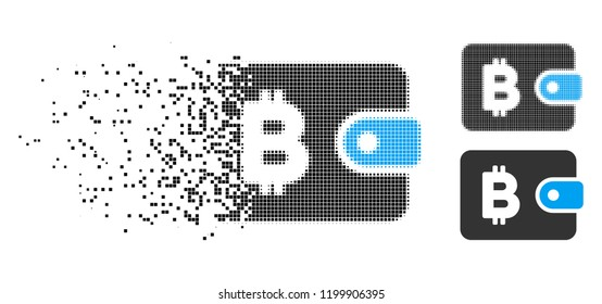 Bitcoin pouch icon in disappearing, dotted halftone and undamaged solid variants. Points are composed into vector dissipated Bitcoin pouch icon. Disappearing effect uses square points.