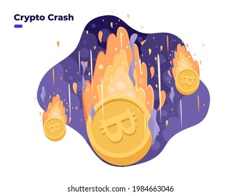 Bitcoin price falling down illustration. Cryptocurrency price crash. High risk of crypto investment. Crypto coin burning. Crypto stock market investment crisis,  bear market.