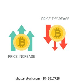 Bitcoin price increase and decrease, flat icon