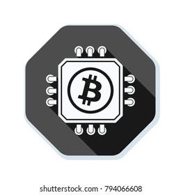 Bitcoin Processor Minig hazard sign illustration