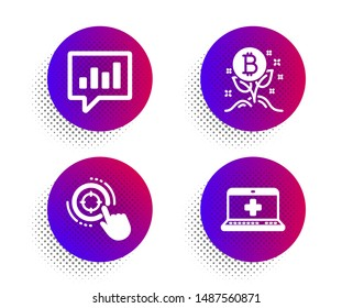 Bitcoin project, Analytical chat and Seo target icons simple set. Halftone dots button. Medical help sign. Cryptocurrency startup, Communication speech bubble, Click aim. Medicine laptop. Vector