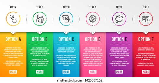 Bitcoin project, Question mark and Checkbox icons simple set. Loan percent, Idea and Read instruction signs. Cryptocurrency startup, Quiz chat. Business set. Infographic template. 6 steps timeline