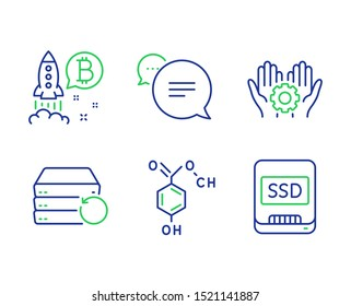 Bitcoin project, Text message and Employee hand line icons set. Chemical formula, Recovery server and Ssd signs. Cryptocurrency startup, Chat bubble, Work gear. Chemistry. Technology set. Vector