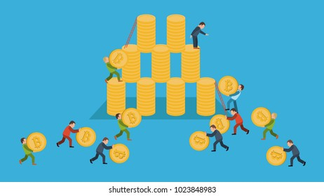 Bitcoin pyramid concept cryptocurrency, blockchain, startup on blue background isolated vector illustration