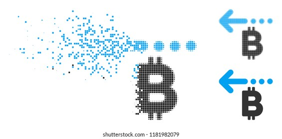 Bitcoin refund back icon in dispersed, pixelated halftone and original variants. Pixels are arranged into vector dispersed Bitcoin refund back icon. Disappearing effect involves rectangular particles.