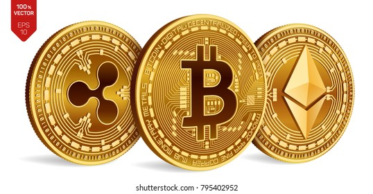 Bitcoin. Ripple. Ethereum. 3D isometric Physical coins. Digital currency. Cryptocurrency. Golden coins with bitcoin, ripple and ethereum symbol on white background. Vector illustration.