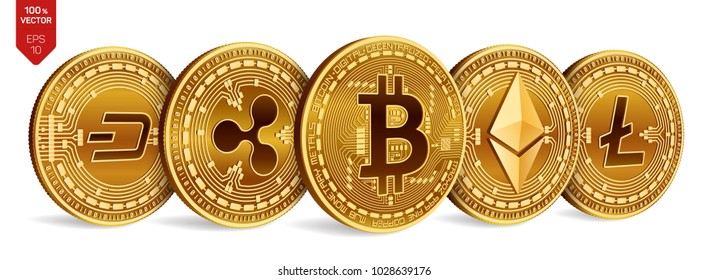 Bitcoin. Ripple. Ethereum. Dash. Litecoin. 3D isometric Physical coins. Crypto currency. Golden coins with bitcoin, ripple, ethereum, dash and litecoin symbol on white background