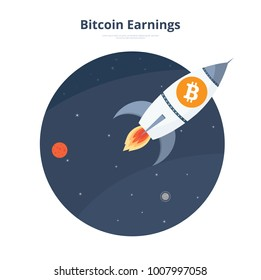 Bitcoin Rocket Launch Space Vector Illustration