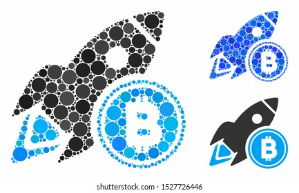 Bitcoin rocket mosaic of filled circles in different sizes and color hues, based on Bitcoin rocket icon. Vector filled circles are united into blue mosaic.