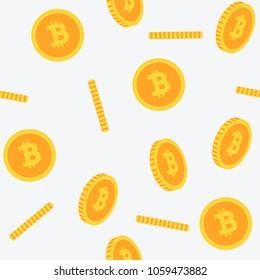 Bitcoin Seamless 3D flat style yellow Pattern