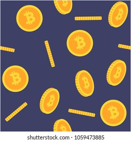 Bitcoin Seamless 3D flat style yellow bitcoins on blue background Pattern