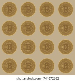 Bitcoin seamless pattern. Crypto money profit concept. Flat vector illustration. Cryptocurrency symbol