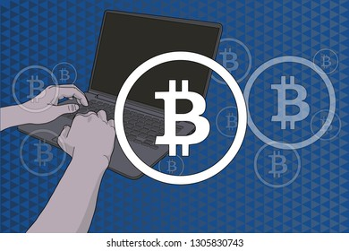 Bitcoin sign over hands on keyboard
