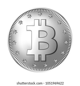 Bitcoin silver coin. Money and finance symbol for fintech net banking and blockchain concept. Vector detailed realistic illustration isolated on a white background.