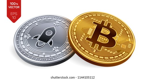 Bitcoin. Stellar. 3D isometric Physical coins. Digital currency. Cryptocurrency. Silver coin with Stellar symbol and golden coin with Bitcoin symbol isolated on white background. Vector illustration.