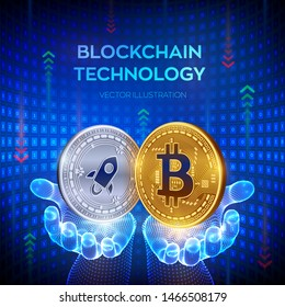 Bitcoin. Stellar. Blockchain. 3D Physical bit coin. Block chain concept. Golden and silver coins with Bitcoin and Stellar symbol in hands. Editable Cryptocurrency template. Vector illustration.