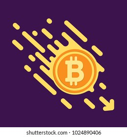 Bitcoin symbol in flat design for internet money. A symbol of crypto currencies,  coin quickly fall down. bright Vector illustration on a dark purple background.