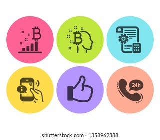 Bitcoin think, Like and Bitcoin graph icons simple set. Settings blueprint, Call center and 24h service signs. Cryptocurrency head, Thumbs up. Technology set. Flat bitcoin think icon. Circle button